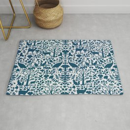 Folk Art Pattern Blue Teal on Gray Rug