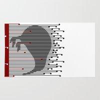 maori Area & Throw Rugs featuring Kiwi in Rapou by mailboxdisco