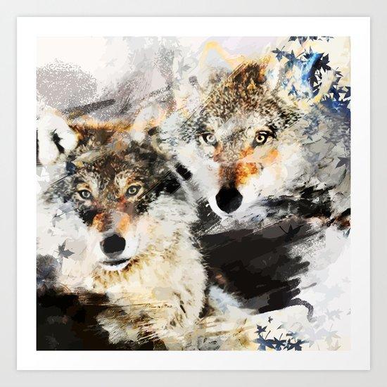 Wolf Nature Autumn Art Print