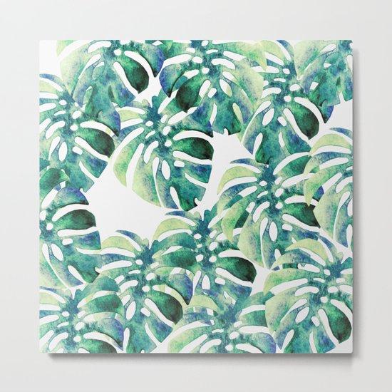 Monstera Pattern Green Metal Print