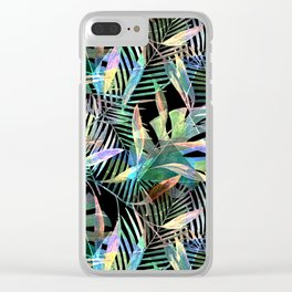 Tropical pattern.2 Colorful leaves on black Clear iPhone Case