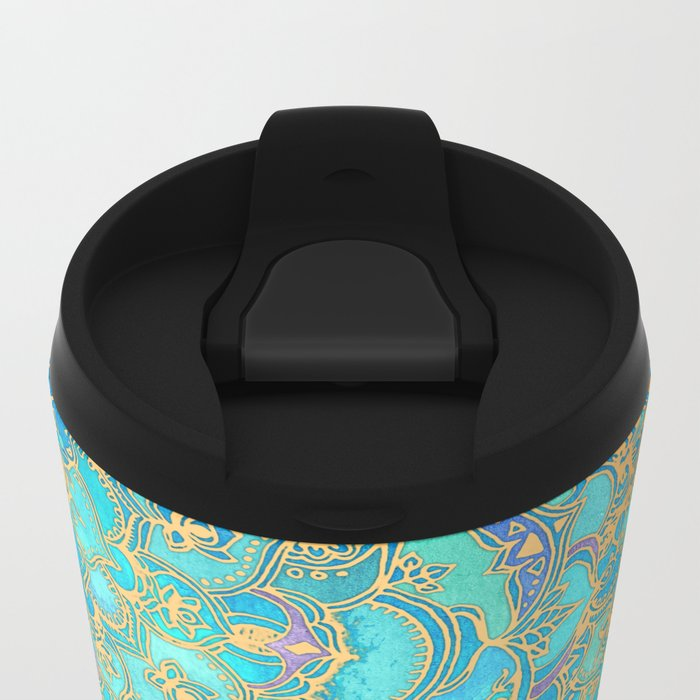 Sapphire & Jade Stained Glass Mandalas Metal Travel Mug