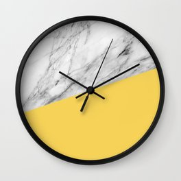 Marble and primrose yellow color Wall Clock