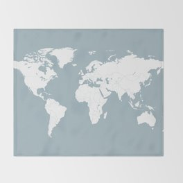 Minimalist World Map in Slate Blue Throw Blanket