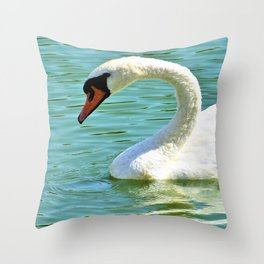 Beautiful White Swan Swimming On Rawhide Lake Texas Throw Pillow