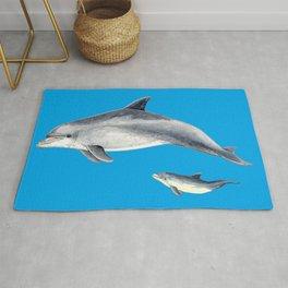 Bottlenose dolphin blue background Rug