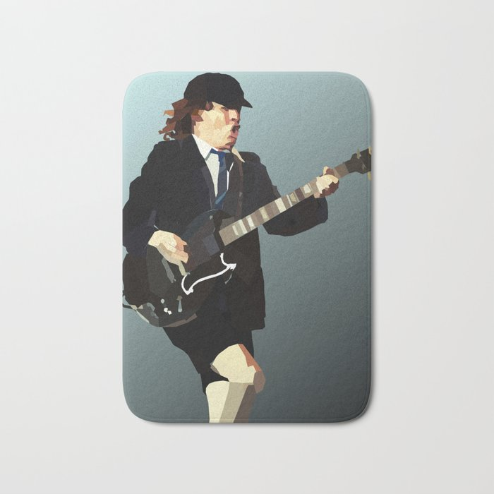 Low Polygon Portrait of Angus Young Bath Mat