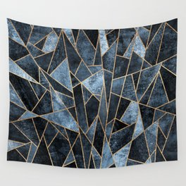 Shattered Soft Dark Blue Wall Tapestry