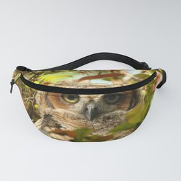 Baby owl in spring blossoms Fanny Pack