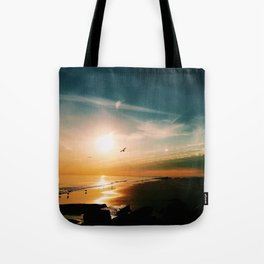 Winter Ocean Sunset Tote Bag