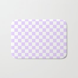 Large Chalky Pale Lilac Pastel Color and White Checkerboard Bath Mat