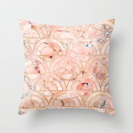 Peachy Marble (foor) Throw Pillow