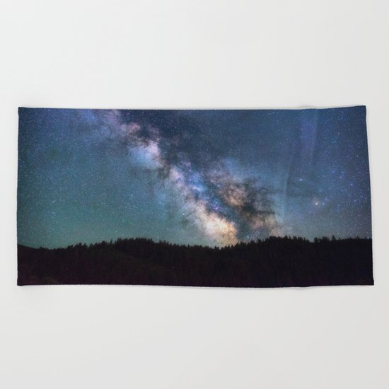 milky way night sky Beach Towel