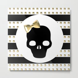 Gold Studded Skull Hair Bow Metal Print