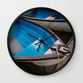 Blue Row Boats Wall Clock
