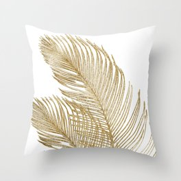 Palm Leaves Finesse Line Art with Gold Foil #2 #minimal #decor #art #society6 Throw Pillow