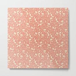 Delicate Leaves Peach Metal Print