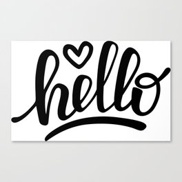 Hello brush lettering Canvas Print
