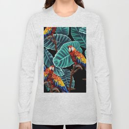tropical leaves macaw pattern 2 Long Sleeve T-shirt