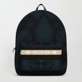 Midnight Blue Marble with Gold Glitter Ribbon Backpack