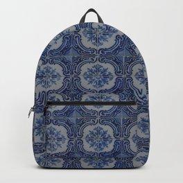 Vintage blue ceramic tiles pattern Backpack