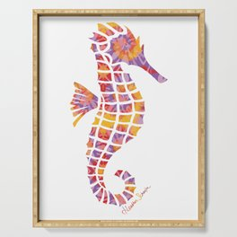 Festival Sunset Seahorse on White Serving Tray