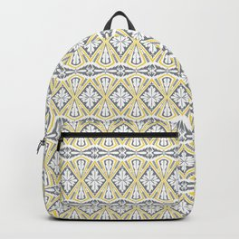 Geometrical pattern in yellow and  grey Backpack