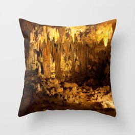 Cave with stalagmites and stalactites, a study of light and darkness Throw Pillow