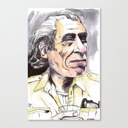 Charles Bukowski portrait in watercolor and ballpoint by McHank Canvas Print
