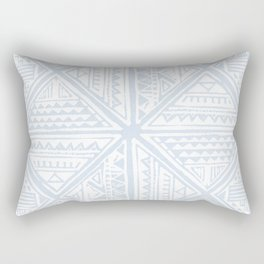 Simply Tribal Tile in Sky Blue on Lunar Gray Rectangular Pillow