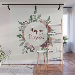 Happy Passover Floral Jewish Pesach Holiday Art Wall Mural