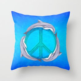 Dolphin Peace Throw Pillow