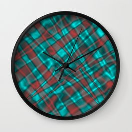 Bright metal mesh with light blue intersecting diagonal lines. Wall Clock