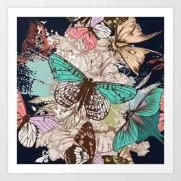 Vintage vector butterfly illustration Art Print
