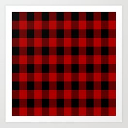 Red and black buffalo plaid pattern Art Print