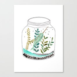 Narwhal in a jar Canvas Print
