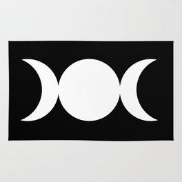 Triple Goddess Symbol – Divine Feminine – Maiden, Mother, Crone - White on Black Rug