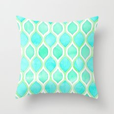 Watercolor Pattern in Aqua, Lime & Mint on White Throw Pillow