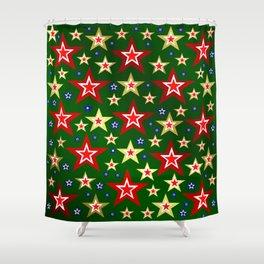 grenn,blue,gold,red stars xmas pattern Shower Curtain