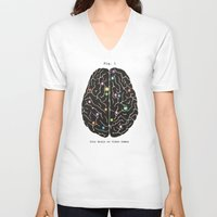 video games V-neck T-shirts featuring Your Brain On Video Games by Terry Fan