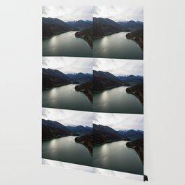 german alps road lake trees forrest drone aerial shot horizon clouds Wallpaper