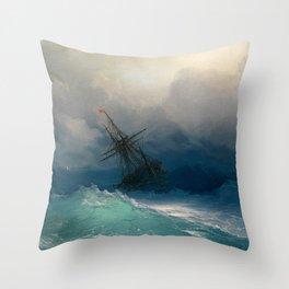 Ship on Stormy Seas, Seascape, Fine Art Print Throw Pillow