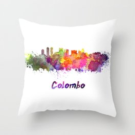 Colombo skyline in watercolor Throw Pillow