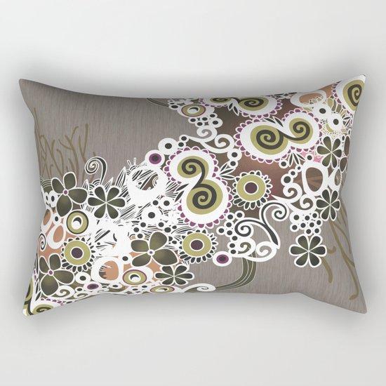 Diagonal flower – brown and olive green fiber Rectangular Pillow