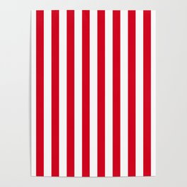 Red and White Small Even Stripes Poster