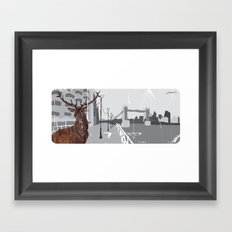 Cityscape Deer Framed Art Print