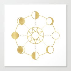 Gold Moon and Sun Phases Canvas Print