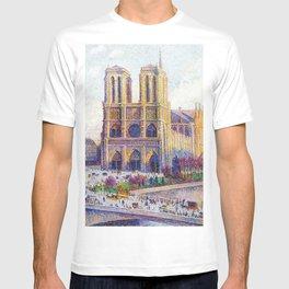 Quai Saint-Michel and Notre-Dame Paris landscape painting by Maximilien Luce T-shirt