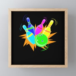 Retro Bowling - Gift Framed Mini Art Print