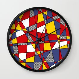 Red, Yellow & Blue Abstract Wall Clock